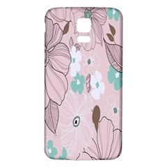 Background Texture Flowers Leaves Buds Samsung Galaxy S5 Back Case (White)