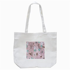 Background Texture Flowers Leaves Buds Tote Bag (White)