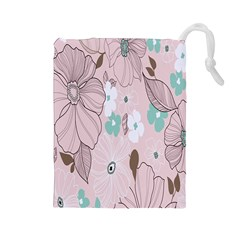 Background Texture Flowers Leaves Buds Drawstring Pouches (Large)