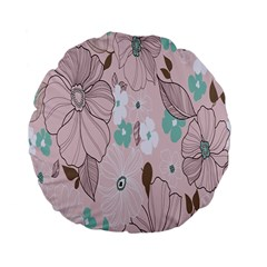 Background Texture Flowers Leaves Buds Standard 15  Premium Flano Round Cushions