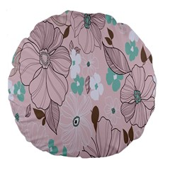Background Texture Flowers Leaves Buds Large 18  Premium Flano Round Cushions