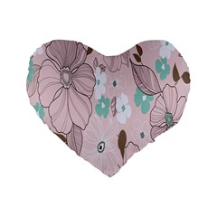 Background Texture Flowers Leaves Buds Standard 16  Premium Flano Heart Shape Cushions