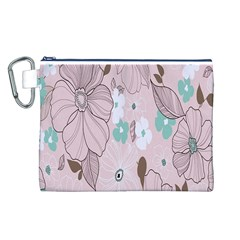 Background Texture Flowers Leaves Buds Canvas Cosmetic Bag (L)