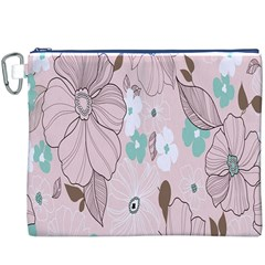 Background Texture Flowers Leaves Buds Canvas Cosmetic Bag (XXXL)