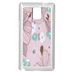 Background Texture Flowers Leaves Buds Samsung Galaxy Note 4 Case (white)