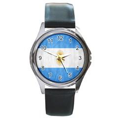 Argentina Texture Background Round Metal Watch