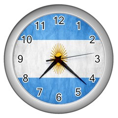 Argentina Texture Background Wall Clocks (silver)