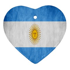 Argentina Texture Background Heart Ornament (two Sides)