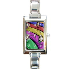 Balloons Colorful Rainbow Metal Rectangle Italian Charm Watch