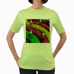 Balloons Colorful Rainbow Metal Women s Green T Shirt