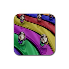 Balloons Colorful Rainbow Metal Rubber Square Coaster (4 Pack)