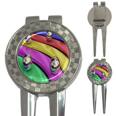 Balloons Colorful Rainbow Metal 3-in-1 Golf Divots