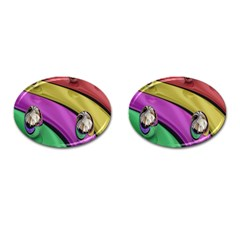 Balloons Colorful Rainbow Metal Cufflinks (Oval)