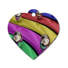 Balloons Colorful Rainbow Metal Dog Tag Heart (One Side)
