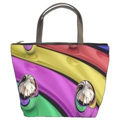 Balloons Colorful Rainbow Metal Bucket Bags
