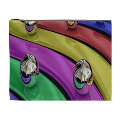 Balloons Colorful Rainbow Metal Cosmetic Bag (XL)