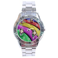 Balloons Colorful Rainbow Metal Stainless Steel Analogue Watch