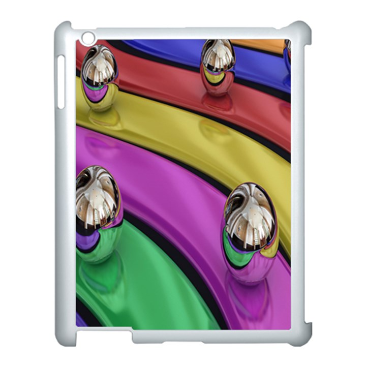Balloons Colorful Rainbow Metal Apple iPad 3/4 Case (White)
