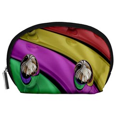 Balloons Colorful Rainbow Metal Accessory Pouches (Large)