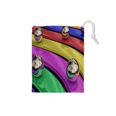 Balloons Colorful Rainbow Metal Drawstring Pouches (Small)