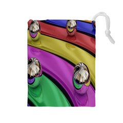 Balloons Colorful Rainbow Metal Drawstring Pouches (Large)