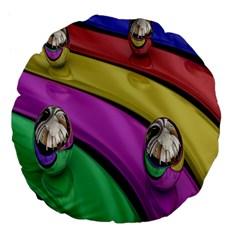 Balloons Colorful Rainbow Metal Large 18  Premium Flano Round Cushions