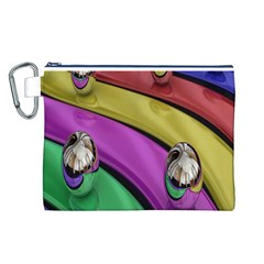 Balloons Colorful Rainbow Metal Canvas Cosmetic Bag (l)