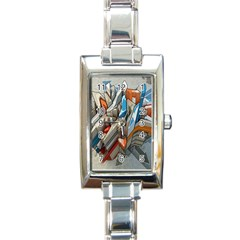 Abstraction Imagination City District Building Graffiti Rectangle Italian Charm Watch