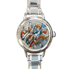 Abstraction Imagination City District Building Graffiti Round Italian Charm Watch