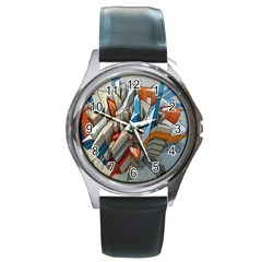 Abstraction Imagination City District Building Graffiti Round Metal Watch