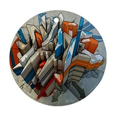 Abstraction Imagination City District Building Graffiti Ornament (round)