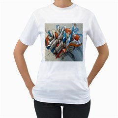 Abstraction Imagination City District Building Graffiti Women s T-Shirt (White) (Two Sided)