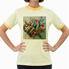 Abstraction Imagination City District Building Graffiti Women s Fitted Ringer T-Shirts
