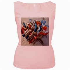 Abstraction Imagination City District Building Graffiti Women s Pink Tank Top