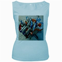 Abstraction Imagination City District Building Graffiti Women s Baby Blue Tank Top