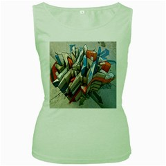 Abstraction Imagination City District Building Graffiti Women s Green Tank Top