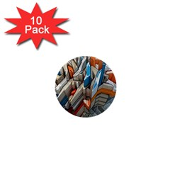 Abstraction Imagination City District Building Graffiti 1  Mini Buttons (10 Pack)