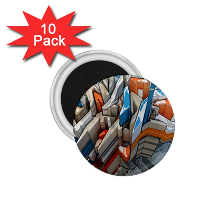 Abstraction Imagination City District Building Graffiti 1.75  Magnets (10 pack)
