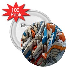 Abstraction Imagination City District Building Graffiti 2.25  Buttons (100 pack)