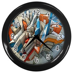 Abstraction Imagination City District Building Graffiti Wall Clocks (Black)