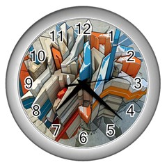 Abstraction Imagination City District Building Graffiti Wall Clocks (Silver)
