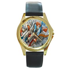 Abstraction Imagination City District Building Graffiti Round Gold Metal Watch