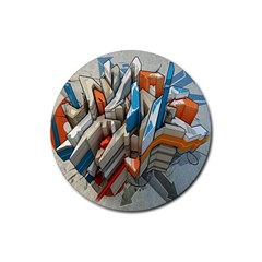 Abstraction Imagination City District Building Graffiti Rubber Round Coaster (4 pack)