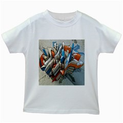 Abstraction Imagination City District Building Graffiti Kids White T Shirts