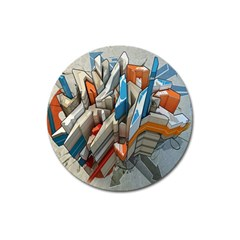 Abstraction Imagination City District Building Graffiti Magnet 3  (round)