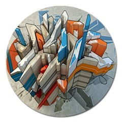 Abstraction Imagination City District Building Graffiti Magnet 5  (Round)
