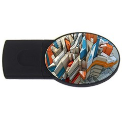 Abstraction Imagination City District Building Graffiti USB Flash Drive Oval (2 GB)