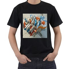 Abstraction Imagination City District Building Graffiti Men s T-Shirt (Black) (Two Sided)