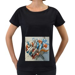 Abstraction Imagination City District Building Graffiti Women s Loose Fit T Shirt (black)