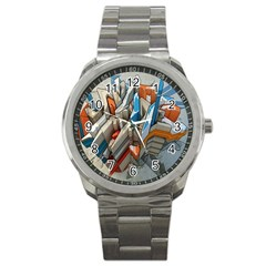 Abstraction Imagination City District Building Graffiti Sport Metal Watch